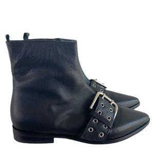 Barney's New York Black Leather Top Buckle Boot 36